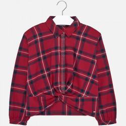 Bluzka w kratę Czerwony