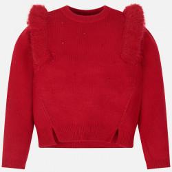 Sweter z falbankami strass...