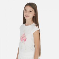 Koszulka k/r lalka kwiatki...